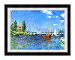 Claude Monet Red Boats Argenteuil 1875 canvas with modern black frame