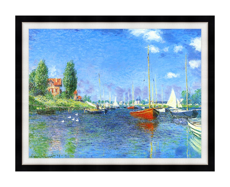 Claude Monet Red Boats, Argenteuil 1875 with Modern Black Frame