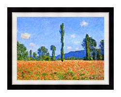 Claude Monet Poppy Field canvas with modern black frame