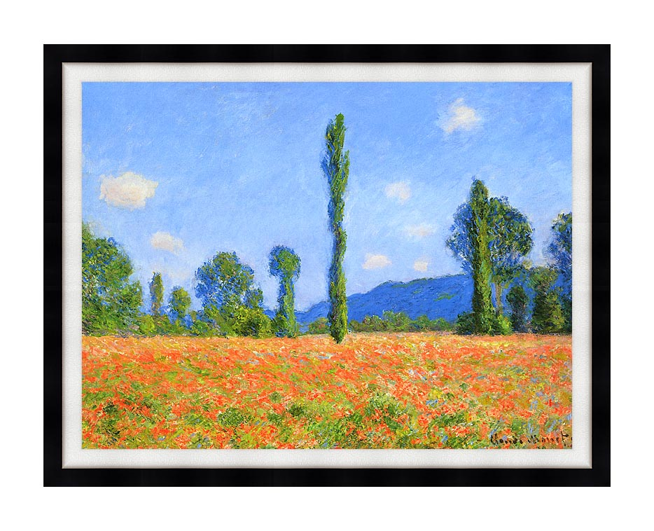 Claude Monet Poppy Field with Modern Black Frame