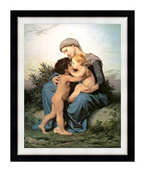 William Bouguereau Fraternal Love canvas with modern black frame