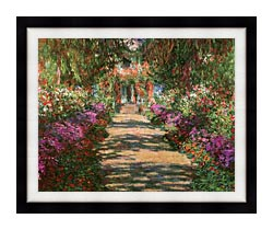 Claude Monet Main Path Through The Garden At Giverny Detail canvas with modern black frame