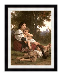 William Bouguereau Rest canvas with modern black frame