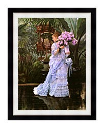 James Tissot The Bunch Of Lilacs canvas with modern black frame