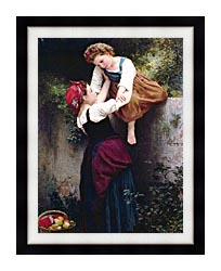 William Bouguereau Little Marauders canvas with modern black frame