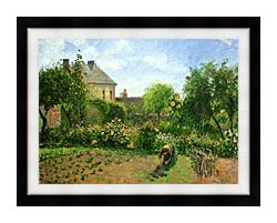 Camille Pissarro The Artists Garden At Eragny canvas with modern black frame