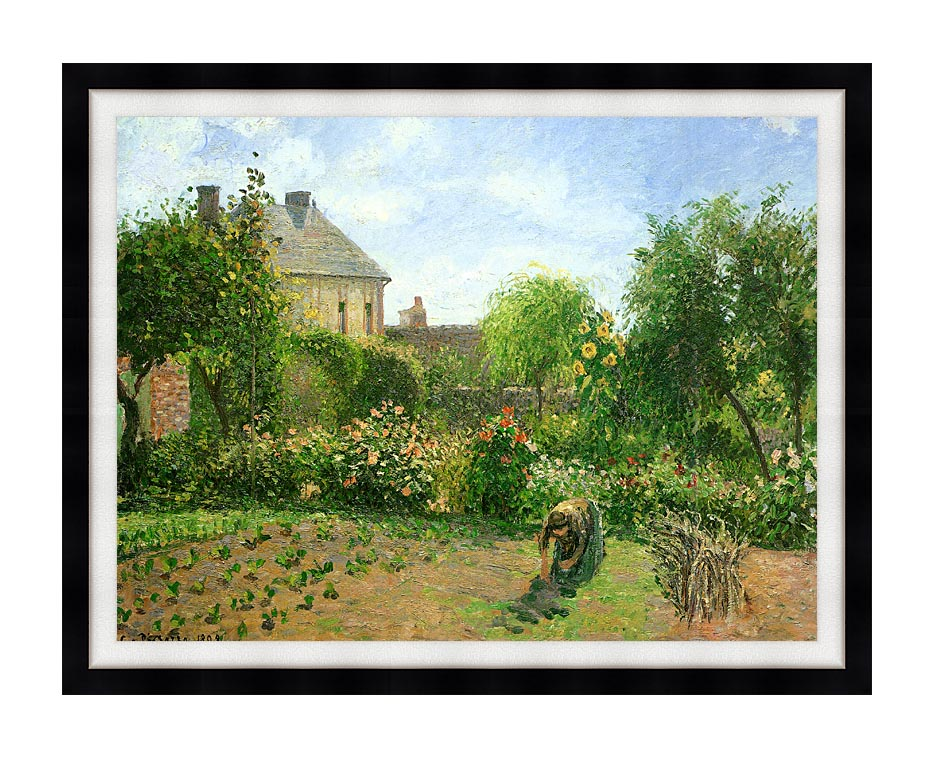 Camille Pissarro The Artist's Garden at Eragny with Modern Black Frame