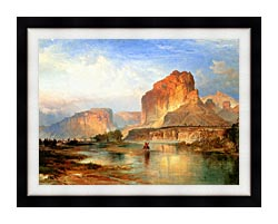 Thomas Moran Cliffs Of Green River canvas with modern black frame