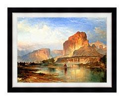 Thomas Moran Cliffs Of Green River canvas with modern black frame