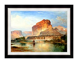 Thomas Moran Cliffs Of Green River 1874 Detail canvas with modern black frame