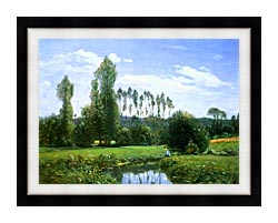 Claude Monet View From Rouelles Monets First Painting canvas with modern black frame