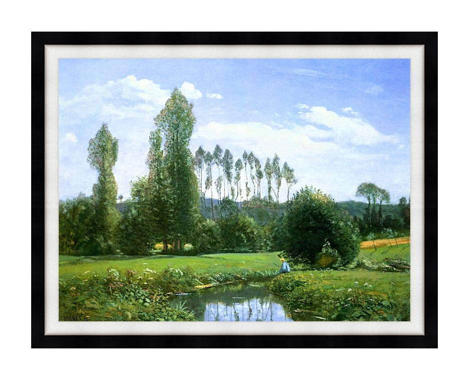 Claude Monet View from Rouelles (Monet's First Painting) with Modern Black Frame