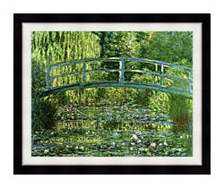 Claude Monet Water Lily Pond Harmony In Green canvas with modern black frame