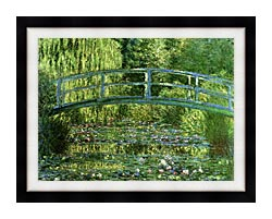 Claude Monet Water Lily Pond Harmony In Green Detail canvas with modern black frame