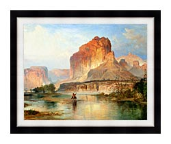 Thomas Moran Cliffs Of Green River Detail canvas with modern black frame