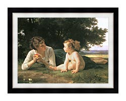 William Bouguereau Temptation canvas with modern black frame