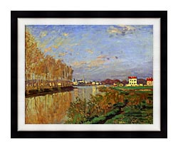 Claude Monet The Seine At Argenteuil Vanilla Sky canvas with modern black frame