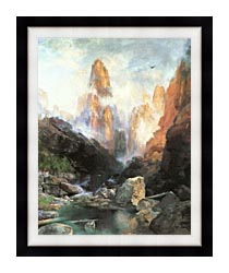 Thomas Moran Mist In Kanab Canyon Utah canvas with modern black frame