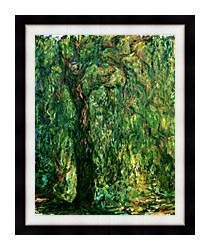 Claude Monet Weeping Willow Detail canvas with modern black frame