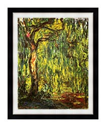Claude Monet Landscape Weeping Willow canvas with modern black frame
