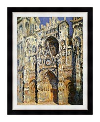 Claude Monet Rouen Cathedral The Portal And The Tour Sainte Romain Full Sunlight Harmony In Blue And Gold canvas with modern black frame