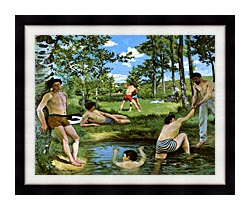 Frederic Bazille Summer Scene canvas with modern black frame