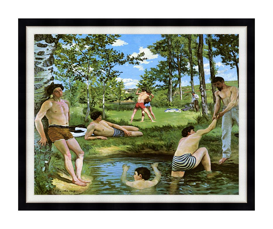 Frederic Bazille Summer Scene with Modern Black Frame