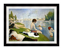 Georges Seurat Bathers At Asnieres canvas with modern black frame
