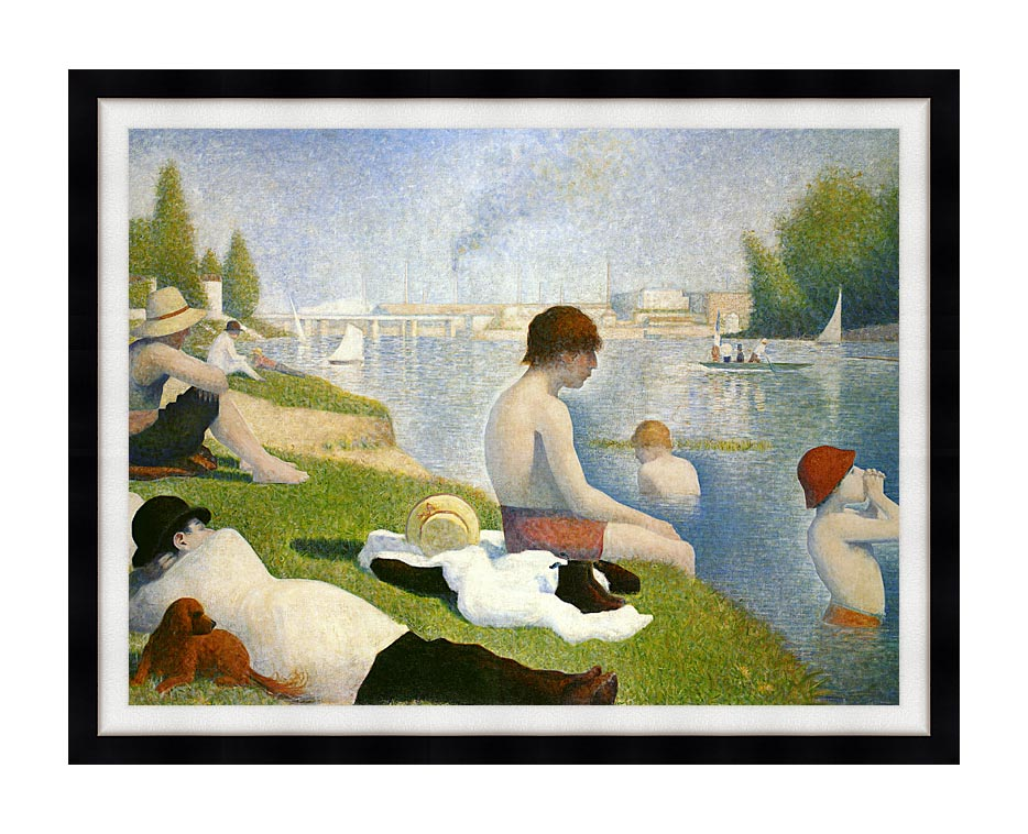 Georges Seurat Bathers at Asnieres with Modern Black Frame