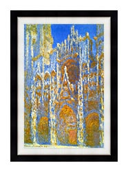 Claude Monet Rouen Cathedral Sunlight Effect canvas with modern black frame