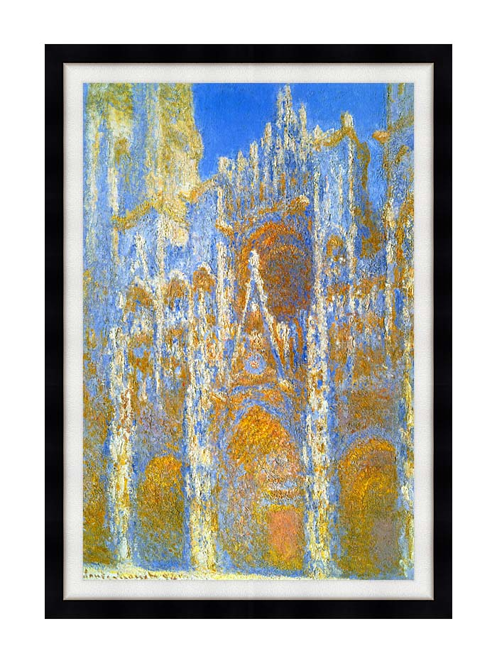 Claude Monet Rouen Cathedral, Sunlight Effect with Modern Black Frame