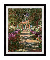 Claude Monet Main Path Through The Garden At Giverny Portrait Detail canvas with modern black frame