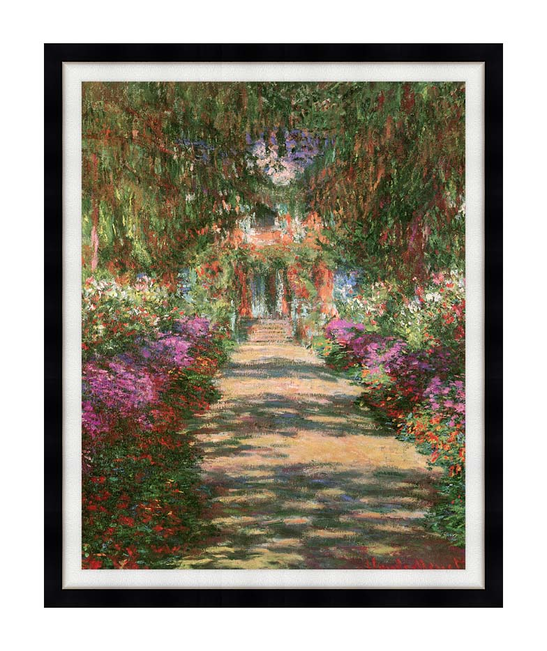 Claude Monet Main Path through the Garden at Giverny (portrait detail) with Modern Black Frame