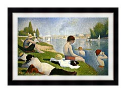 Georges Seurat Bathers At Asnieres Detail canvas with modern black frame