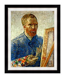 Vincent Van Gogh Self Portrait As An Artist canvas with modern black frame