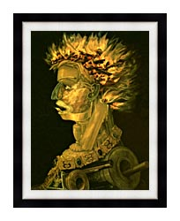 Giuseppe Arcimboldo Fire canvas with modern black frame