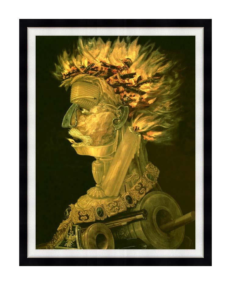 Giuseppe Arcimboldo Fire with Modern Black Frame