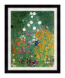 Gustav Klimt Farm Garden Portrait Detail canvas with modern black frame