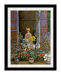 Claude Monet Camille Monet At The Window canvas with modern black frame