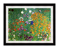 Gustav Klimt Farm Garden 1905 6 Detail canvas with modern black frame