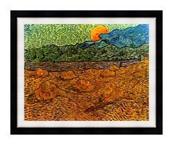 Vincent Van Gogh Evening Landscape With Rising Moon canvas with modern black frame
