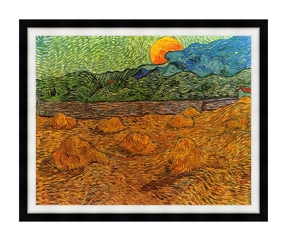 Vincent van Gogh Evening Landscape with Rising Moon with Modern Black Frame