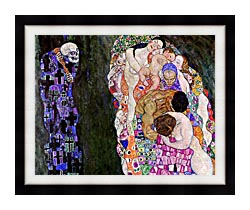 Gustav Klimt Death And Life Detail canvas with modern black frame