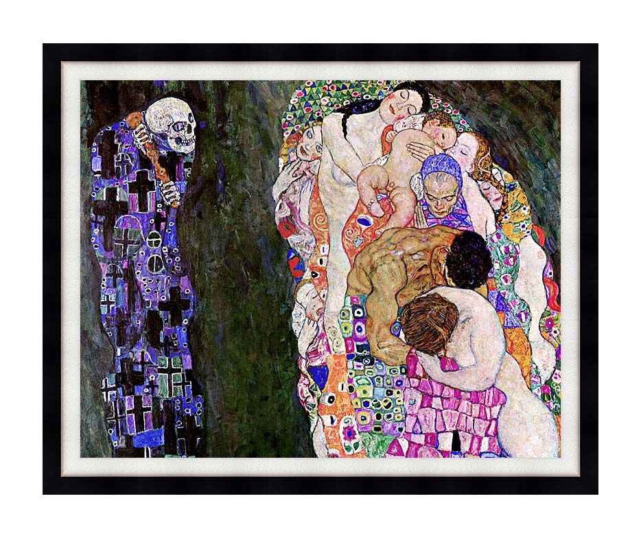 Gustav Klimt Death and Life (detail) with Modern Black Frame