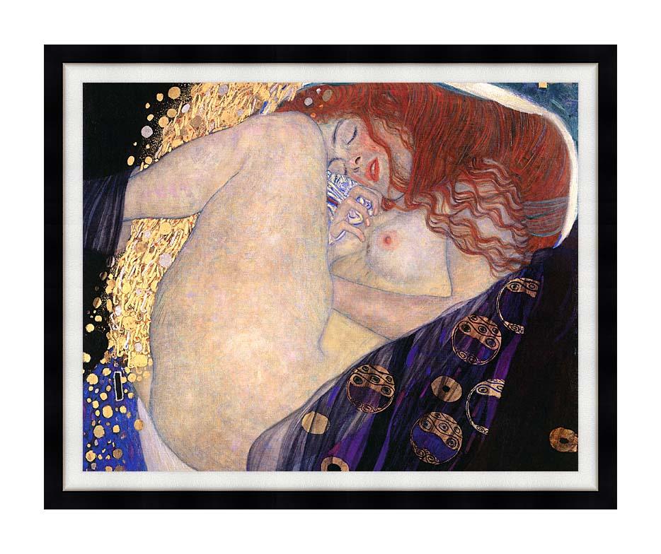 Gustav Klimt Danae (detail) with Modern Black Frame