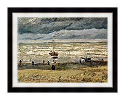 Vincent Van Gogh View Of The Sea At Scheveningen canvas with modern black frame