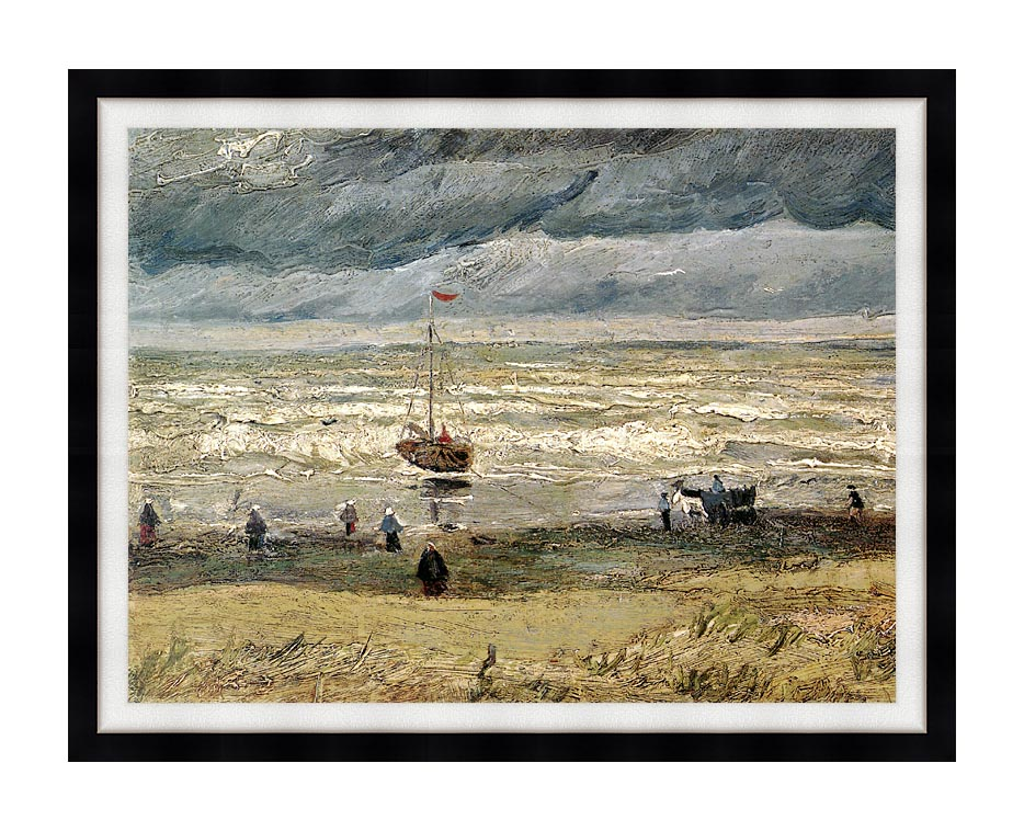 Vincent van Gogh View of the Sea at Scheveningen with Modern Black Frame