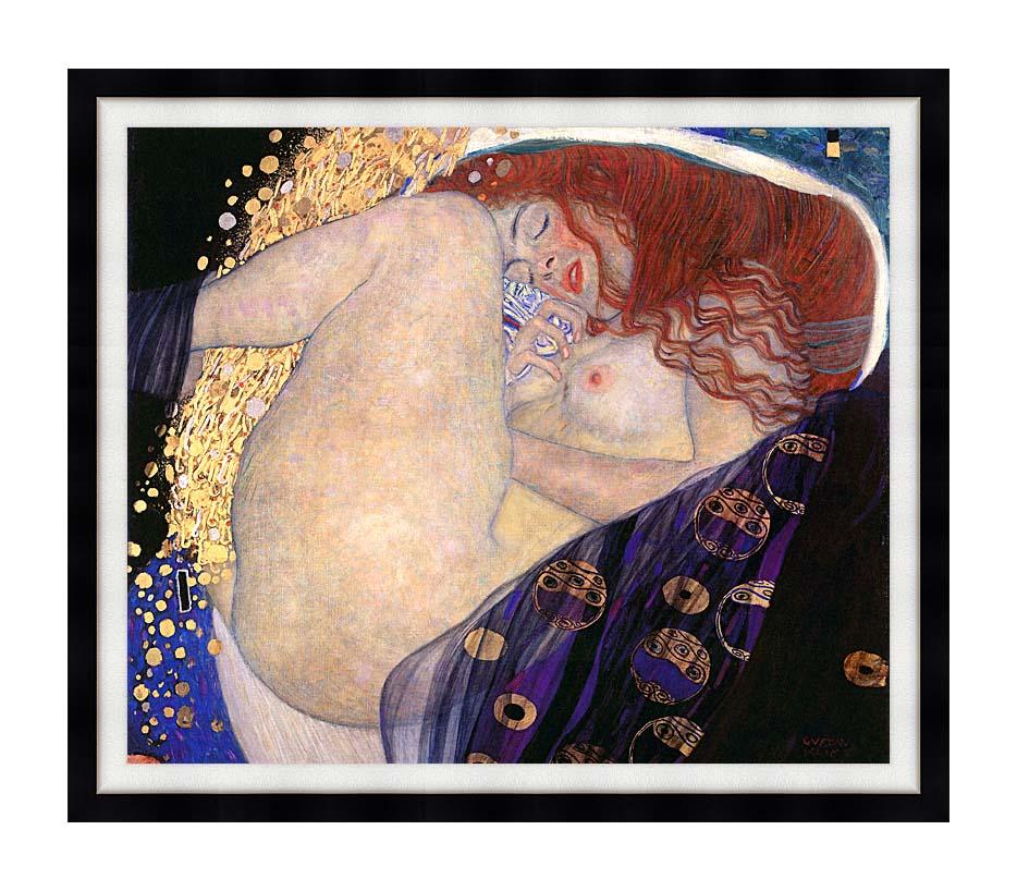 Gustav Klimt Danae with Modern Black Frame