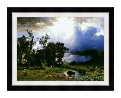 Albert Bierstadt Buffalo Trail The Impending Storm canvas with modern black frame