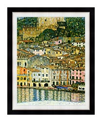 Gustav Klimt Malcesine On Lake Garda Detail canvas with modern black frame